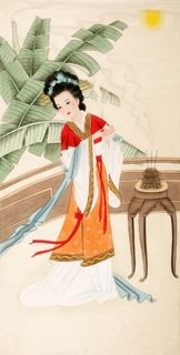 Chinese Famous Four Beauties Painting,66cm x 130cm,3340001-x