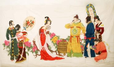 Chinese Famous Four Beauties Painting,138cm x 235cm,3340002-x