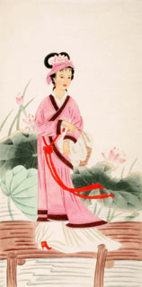 Chinese Famous Four Beauties Painting,66cm x 130cm,3340004-x