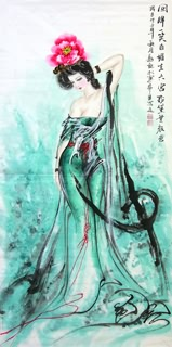 Chinese Famous Four Beauties Painting,69cm x 138cm,3348001-x