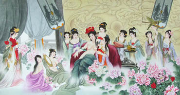 Chinese Famous Four Beauties Painting,69cm x 138cm,3506013-x