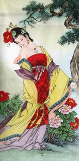 Chinese Famous Four Beauties Painting,34cm x 69cm,3533015-x