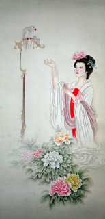 Chinese Famous Four Beauties Painting,50cm x 100cm,3533022-x