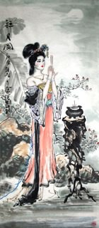 Chinese Famous Four Beauties Painting,56cm x 136cm,3712001-x