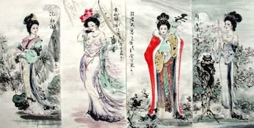 Chinese Famous Four Beauties Painting,48cm x 96cm,3712002-x