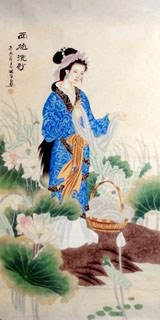 Chinese Famous Four Beauties Painting,66cm x 136cm,3713002-x