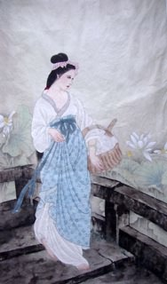 Chinese Famous Four Beauties Painting,60cm x 97cm,3713004-x