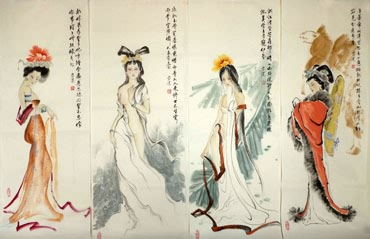 Chinese Famous Four Beauties Painting,34cm x 96cm,3745044-x
