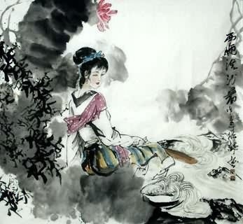 Chinese Famous Four Beauties Painting,97cm x 90cm,3763003-x