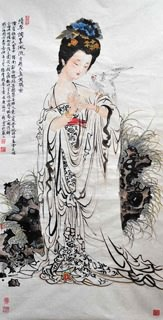 Chinese Famous Four Beauties Painting,66cm x 136cm,3776029-x