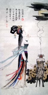 Chinese Famous Four Beauties Painting,66cm x 136cm,3783004-x
