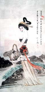 Chinese Famous Four Beauties Painting,66cm x 136cm,3783006-x