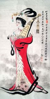 Chinese Famous Four Beauties Painting,66cm x 136cm,3783007-x