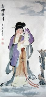 Chinese Famous Four Beauties Painting,48cm x 96cm,3793007-x