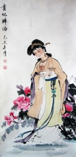 Chinese Famous Four Beauties Painting,48cm x 96cm,3793008-x