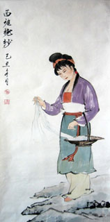 Chinese Famous Four Beauties Painting,48cm x 96cm,3793009-x