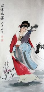 Chinese Famous Four Beauties Painting,48cm x 96cm,3793010-x
