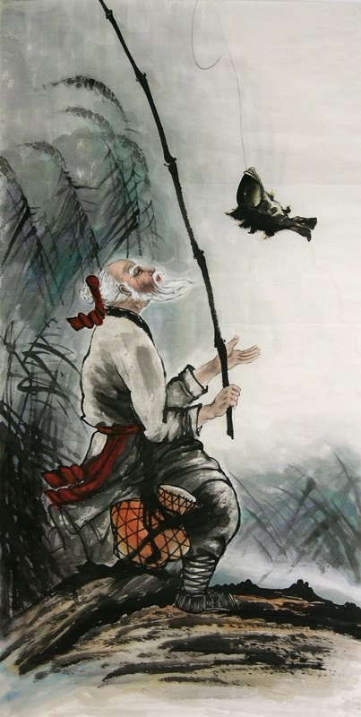 83e06a58d09 Chinese Fishman Farmer Painting An old man is fishing 3348013