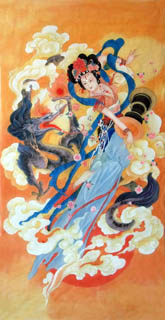 Chinese Flying Apsaras Painting,66cm x 136cm,3807007-x