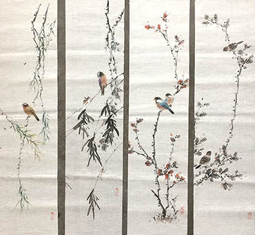 Chinese Four Screens of Flowers and Birds Painting,27cm x 113cm,2011059-x