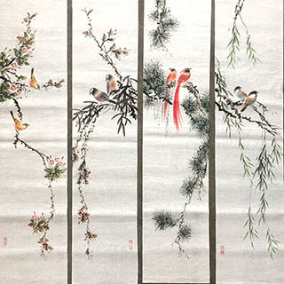 Chinese Four Screens of Flowers and Birds Painting,27cm x 113cm,2011060-x