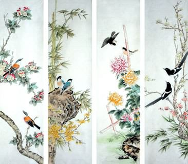 Chinese Four Screens of Flowers and Birds Painting,45cm x 138cm,2322022-x