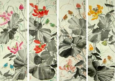 Chinese Four Screens of Flowers and Birds Painting,34cm x 96cm,2323014-x