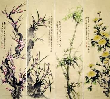Chinese Four Screens of Flowers and Birds Painting,32cm x 120cm,2339004-x