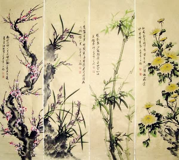 Four Screens of Flowers and Birds,32cm x 120cm(13〃 x 47〃),2339004-z
