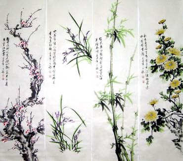 Chinese Four Screens of Flowers and Birds Painting,32cm x 120cm,2339005-x