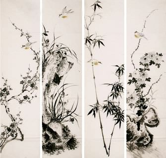Chinese Four Screens of Flowers and Birds Painting,34cm x 138cm,2340110-x