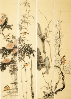 Chinese Four Screens of Flowers and Birds Painting,35cm x 136cm,2340111-x