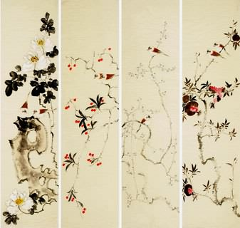 Chinese Four Screens of Flowers and Birds Painting,33cm x 130cm,2340112-x