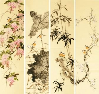 Chinese Four Screens of Flowers and Birds Painting,34cm x 138cm,2340113-x