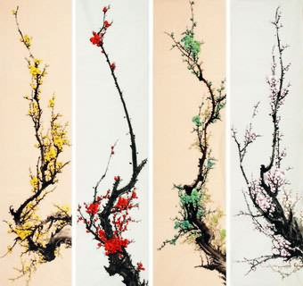 Chinese Four Screens of Flowers and Birds Painting,33cm x 130cm,2340116-x