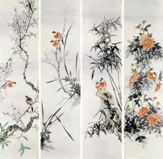 Chinese Four Screens of Flowers and Birds Painting,33cm x 130cm,2340117-x
