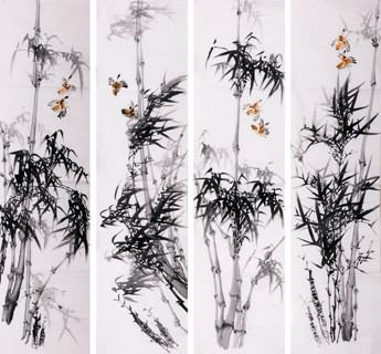 Chinese Four Screens of Flowers and Birds Painting,34cm x 138cm,2340118-x
