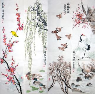 Chinese Four Screens of Flowers and Birds Painting,34cm x 138cm,2360095-x