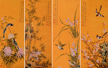 Chinese Four Screens of Flowers and Birds Painting,30cm x 90cm,2384020-x