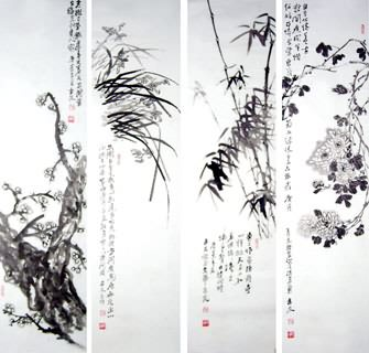 Chinese Four Screens of Flowers and Birds Painting,34cm x 96cm,2412015-x