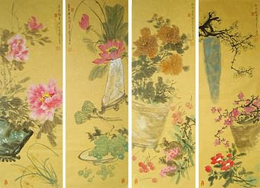 Chinese Four Screens of Flowers and Birds Painting,34cm x 96cm,2414017-x