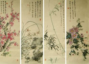 Chinese Four Screens of Flowers and Birds Painting,30cm x 90cm,2414018-x
