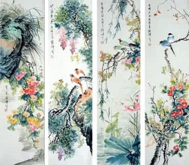 Chinese Four Screens of Flowers and Birds Painting,34cm x 138cm,2423024-x