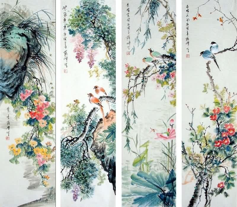 Four Screens Of Flowers And Birds 34cm X 138cm 13 54