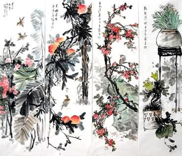 Chinese Four Screens of Flowers and Birds Painting,33cm x 117cm,2423025-x