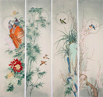 Chinese Four Screens of Flowers and Birds Painting,35cm x 136cm,2527032-x