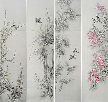 Chinese Four Screens of Flowers and Birds Painting,35cm x 136cm,2527033-x