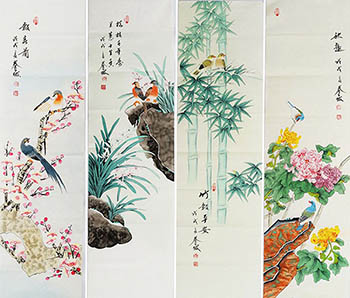 Chinese Four Screens of Flowers and Birds Painting,34cm x 120cm,2527034-x