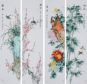 Chinese Four Screens of Flowers and Birds Painting,35cm x 136cm,2527035-x