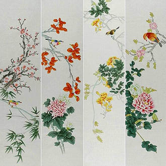 Chinese Four Screens of Flowers and Birds Painting,35cm x 136cm,2527036-x
